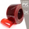 Lanière PVC souple ROUGE transparente à la découpe au mètre