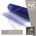 Découpe rectangulaire de plaque en PVC souple transparent